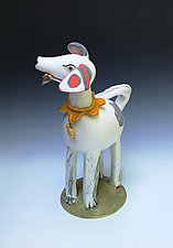Red Spotted Dog by Amy Goldstein-Rice (Ceramic Sculpture)