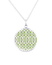 Green Symi Silver Enamel Pendant by Karen and James Moustafellos (Enameled Necklace)