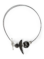 Spheres, Crescents, and Disks: Ebony and Silver by Suzanne Linquist (Silver & Wood Necklace)