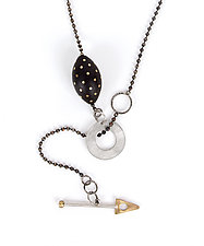 Spotted Ebony Lariat by Suzanne Linquist (Silver & Wood Necklace)