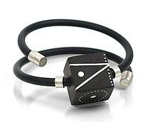 Rotating Cube Bracelet by Suzanne Linquist (Silver & Wood Bracelet)