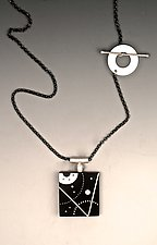 Ebony and Silver Slice of Space Necklace by Suzanne Linquist (Silver & Wood Necklace)