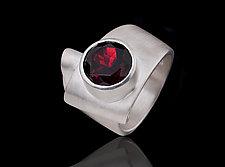 Folded Garnet Ring by Diana Widman (Silver & Stone Ring)