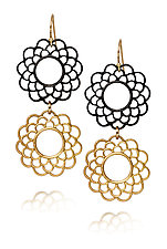 Metropolitan Rosette Drops by Diana Widman (Gold & Steel Earrings)