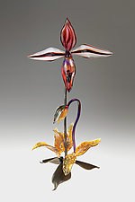 Red Lady Slipper by Loy Allen (Art Glass Sculpture)