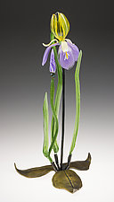 Pale Purple Iris by Loy Allen (Art Glass Sculpture)