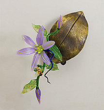 Wall-Mounted Clematis on Leaf by Loy Allen (Art Glass Wall Sculpture)