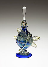 Cobalt Perfume Bottle with Dragonfly by Loy Allen (Art Glass Perfume Bottle)