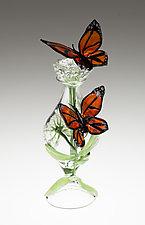 Milkweed Perfume Bottle with Monarchs by Loy Allen (Art Glass Perfume Bottle)