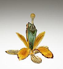 Gold Orchid Perfume Bottle by Loy Allen (Art Glass Perfume Bottle)