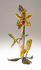 Gold Cattleya by Loy Allen (Art Glass Sculpture)