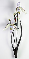 Double Lady Slipper by Loy Allen (Art Glass Wall Sculpture)