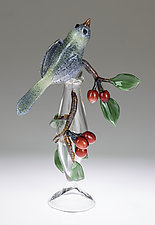 Bird and Cherries Bottle by Loy Allen (Art Glass Perfume Bottle)
