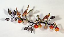 Branch with Birds and Fruit by Loy Allen (Art Glass Wall Sculpture)