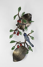 Diptych: Bluebird with Cherries by Loy Allen (Art Glass Wall Sculpture)