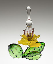 Cactus Flower Bottle by Loy Allen (Art Glass Sculpture)