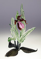 Tabletop Pink Lady Slipper by Loy Allen (Art Glass Sculpture)