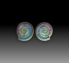 Nautilus Earrings No. 295 by Carly Wright (Enameled Earrings)