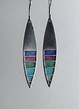 Kayak Earrings No. 352 by Carly Wright (Enameled Earrings)