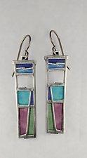 Long Window Earrings # 415 by Carly Wright (Enameled Earrings)