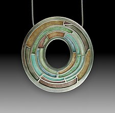Labyrinth Pendant by Carly Wright (Silver & Enamel Necklace)