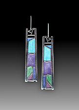 Sidelight Earrings No.471 by Carly Wright (Enameled Earrings)