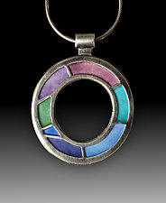 Open Circle Pendant No.301 by Carly Wright (Enameled Necklace)