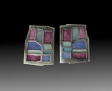 Bluestone Wall Earrings No. 222 by Carly Wright (Enameled Earrings)