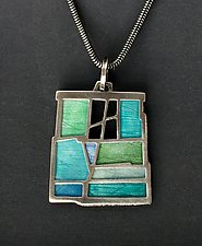 Upstairs Window Pendant #468 by Carly Wright (Silver & Enamel Necklace)