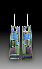 Stacked Stones Earrings by Carly Wright (Silver & Enamel Earrings)