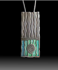 Fossil Pendant No. 488 by Carly Wright (Silver & Enamel Necklace)