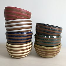 Small Stripe Bowl by Louise Bilodeau (Ceramic Bowl)