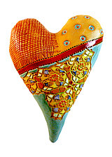 Red Ribbon Heart by Laurie Pollpeter Eskenazi (Ceramic Wall Sculpture)