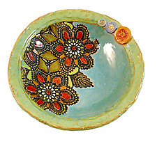 Daina's Flowers Bowl by Laurie Pollpeter Eskenazi (Ceramic Bowl)