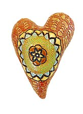 Red Medallion by Laurie Pollpeter Eskenazi (Ceramic Wall Sculpture)