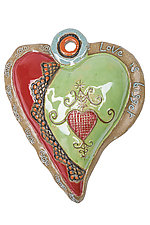 Hearts for Haiti Raw Rim by Laurie Pollpeter Eskenazi (Ceramic Wall Art)