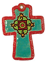 Sally's Medallion Cross by Laurie Pollpeter Eskenazi (Ceramic Wall Sculpture)
