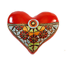 Little Fatty Heart: Blanket Stitch & Button in Red by Laurie Pollpeter Eskenazi (Ceramic Wall Sculpture)