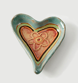 Lacy Heart Dish by Laurie Pollpeter Eskenazi (Ceramic Dish)