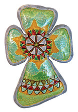 Mosaic Cross by Laurie Pollpeter Eskenazi (Ceramic Wall Sculpture)
