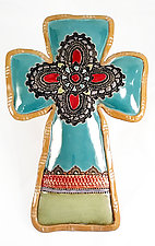 Bernadine's Cross by Laurie Pollpeter Eskenazi (Ceramic Wall Sculpture)