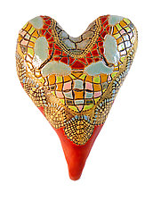 Red Heart with Butterflies by Laurie Pollpeter Eskenazi (Ceramic Wall Sculpture)