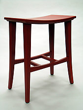 Bright Red Stool by Cosmo Barbaro (Wood Stool)