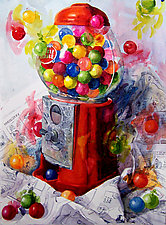 Gumballs Galore by Terrece Beesley (Watercolor Painting)