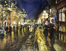 Rainy Night in the City by Terrece Beesley (Watercolor Painting)
