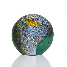Deep Blue Green Stone by David Royce (Art Glass Paperweight)