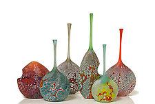 Elemental Series Bottles by David Royce (Art Glass Vessel)