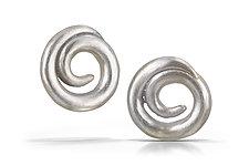 Large Swirl Earrings by Shana Kroiz (Silver Earrings)