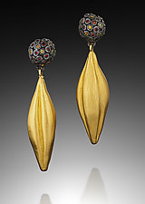 Dangling Pod Sapphire Cluster by Shana Kroiz (Gold, Silver & Stone Earrings)