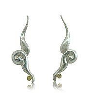 Twisted Swoosh Dangles with Yellow-Brown Diamonds by Shana Kroiz (Silver & Stone Earrings)